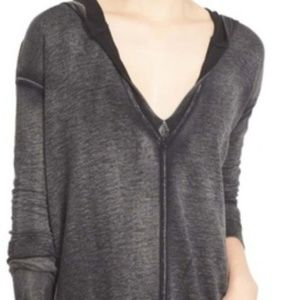 Free People Burnout Blk Queen of Hearts Hoodie XS